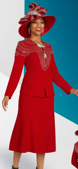 benmarc knit 48307, red knit skirt suit