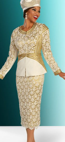 benmarc, 48308, ivory-gold knit suit