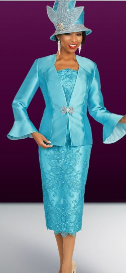 benmarc, skirt suit 48333, turquoise skirt suit