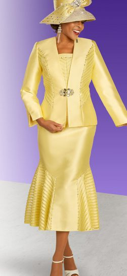 benmarc, 48334, yellow skirt suit, banana color church suit
