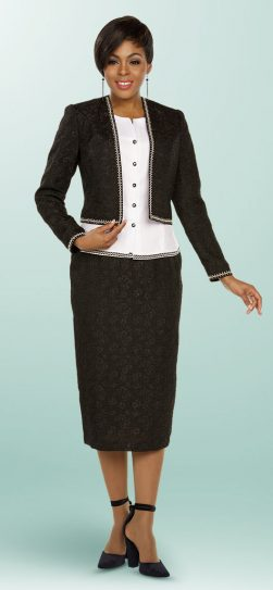 benmarc executive, black and white skirt suit, 11785