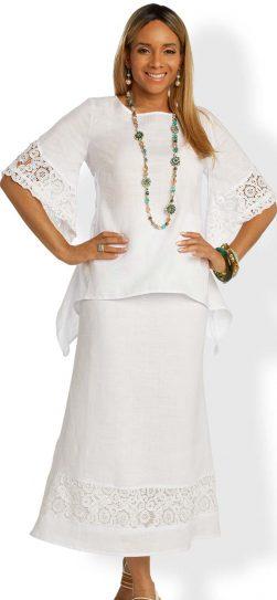 lisa rene, linen skirt set, 3342