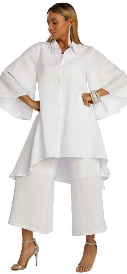 lisa renee, 3361, white linen pantsuit