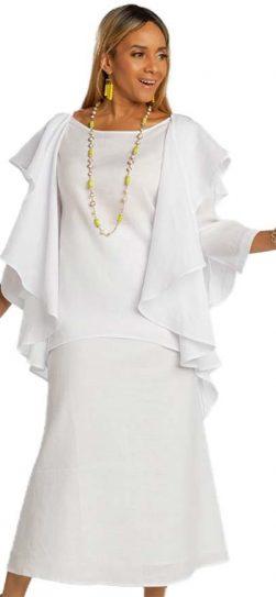 lisa renee, 3362, linen white skirt set