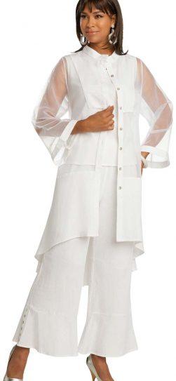 lisa renee, 3363, white linen pant set