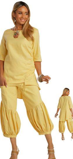lisa renee, 3364, yellow linen pant set