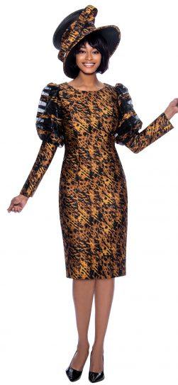 terramina, 7864, gold print dressy dress