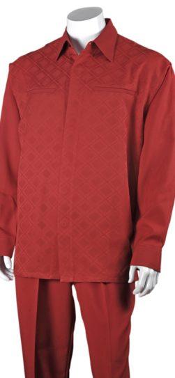 men's red long sleeve walking suit, 2762