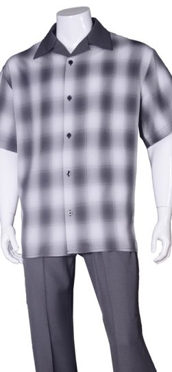 short sleeve walking suit, 2970, black plaid