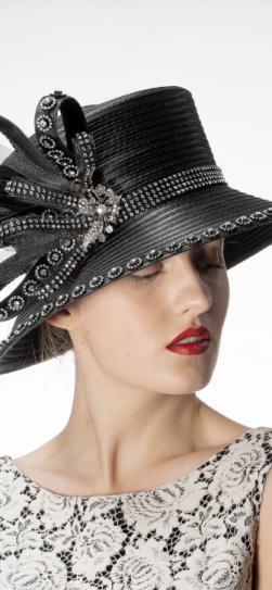 321917, black satin ribbon hat