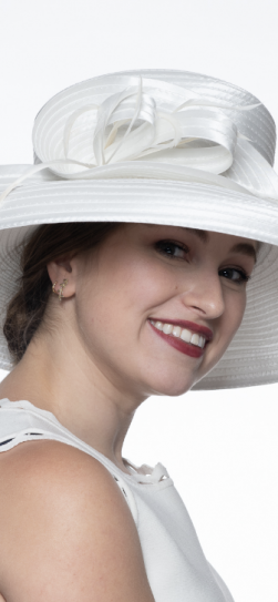 326557, ivory satin ribbon hat