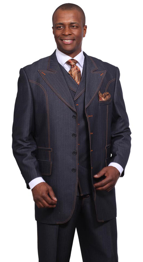 men's 3 piece denim dress suit, 5608