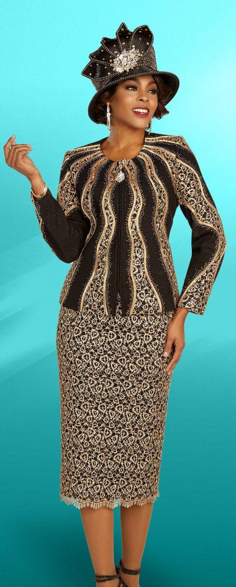 benmarc knit skirt suit, 48309, black-gold knit skirt suit