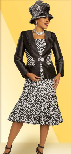 benmarc, 48332, black-white print skirt suit