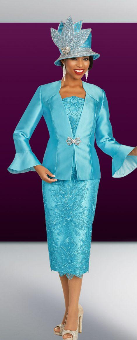 benmarc, skirt suit 48333, turquoise skirt suit