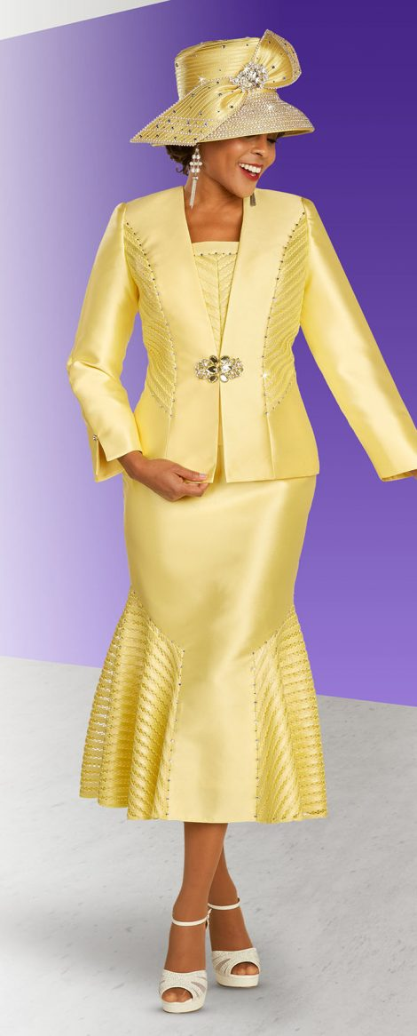 benmarc, 48334, yellow skirt suit, banana color church suit