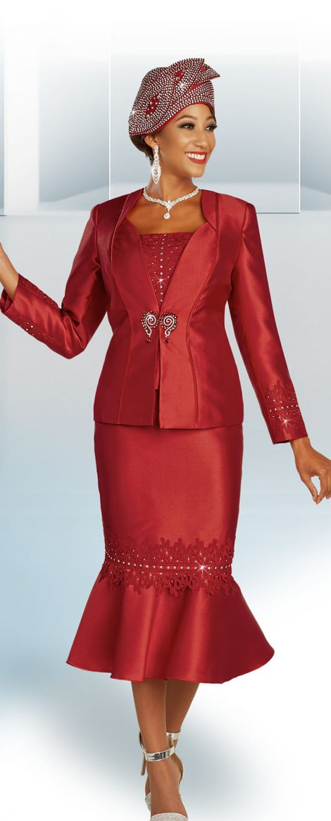 benmarc, red skirt suit, dressy red skirt suit, 48345