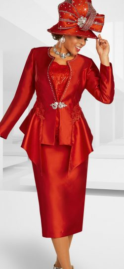 benmarc, 48372, red skirt suit