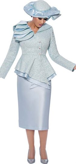 dorinda clark cole, blue dressy skirt suit