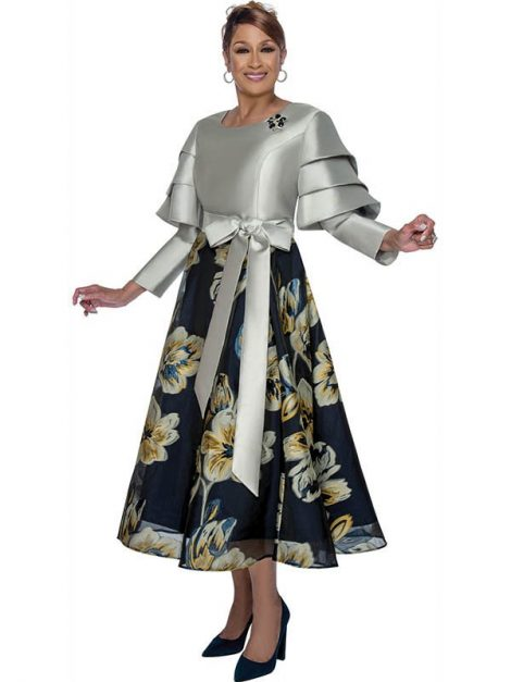 dorinda clark cole, dcc3101, silver-navy dress