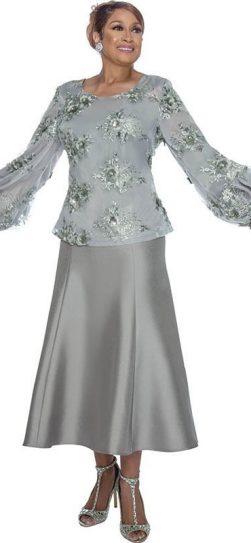 dorinda clark cole, dcc3152, silver skirt set
