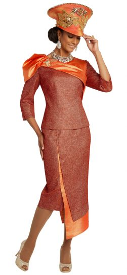 Donnavinci, 5686, orange skirt suit
