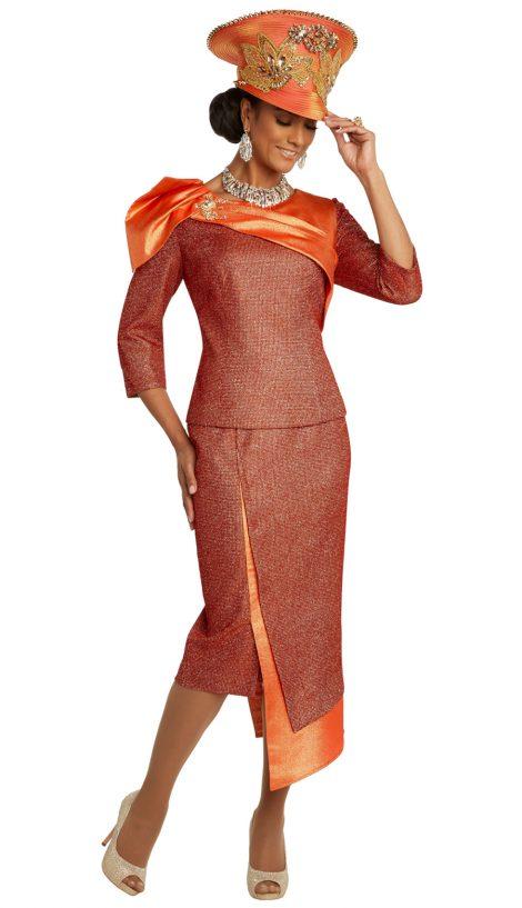 Donnavinci, 5686, orange skirt suit