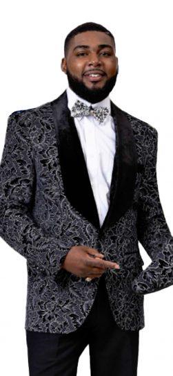 EJ Samuel, Black Blazer, Mens Blazer, Floral Blazer