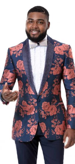 EJ Samuel, Men's Blazer, Floral Print Blazer, Blue Blazer