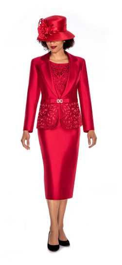 Giovanna,G1007,Red,3pc skirt suit