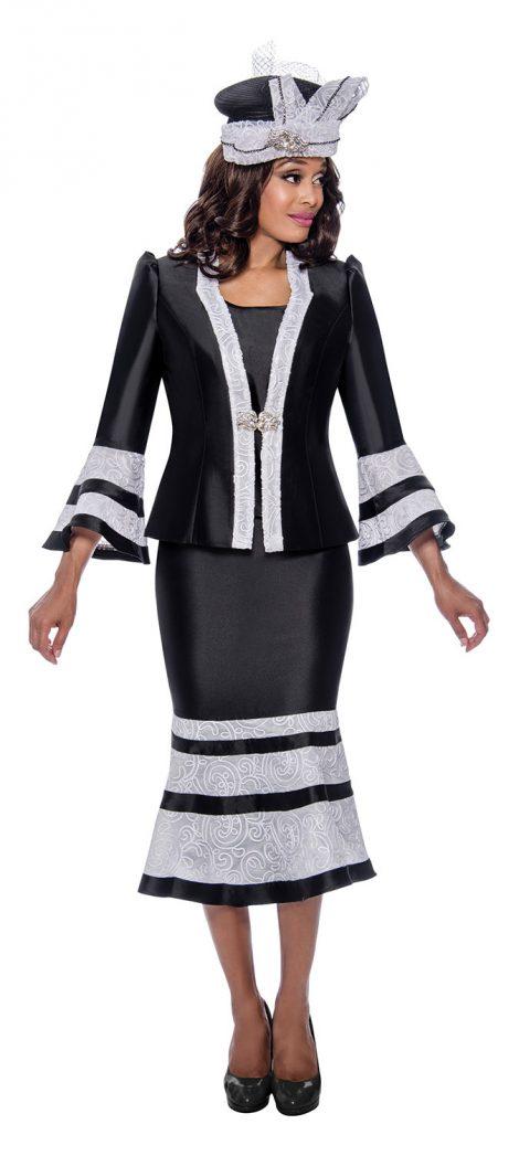 GMI,G8103, black-white skirt suit