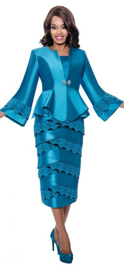 gmi, g8232, turquoise skirt suit