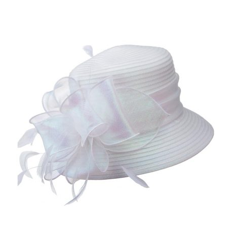 giovanna, white hat, white satin ribbon hat, hm970