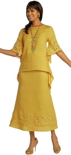 lisa renee, 3342, mustard linen skirt set