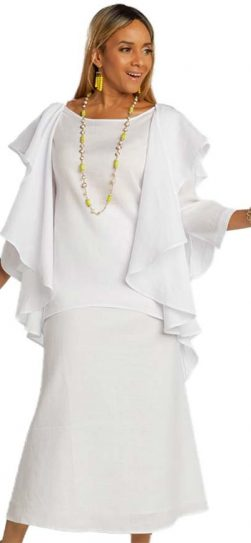 lisa renee, 3362, linen white skirt set