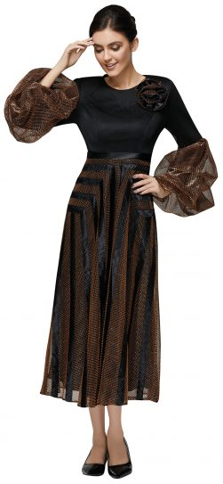 nina nischelle, 2892, black-brown long dress