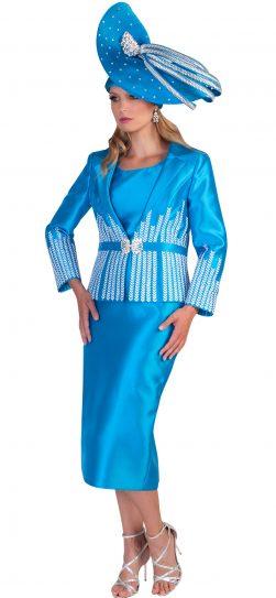 Tally Taylor, 4619, Aqua three piece suit