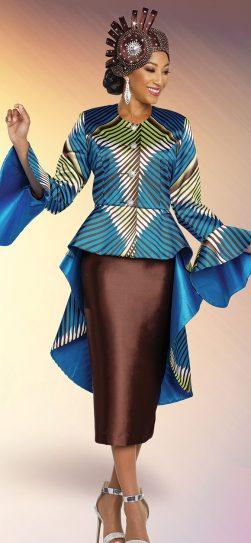 benmarc, 48280, turquoise-brown skirt suit