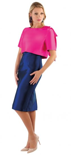 chancele, 9541, navy-fuchsia dress