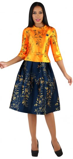 chancele, 9542, orange-navy dress