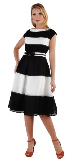 chancelle, 9551, black-white stripe dress