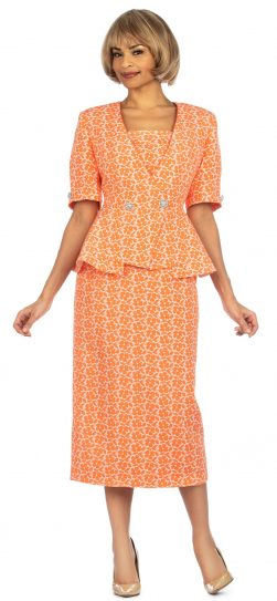 giovanna, 0939, orange short sleeve skirt suit