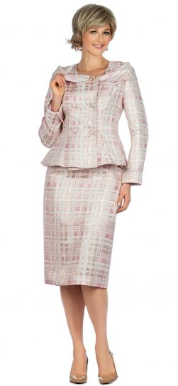 giovanna, g1131, pink plaid skirt suit