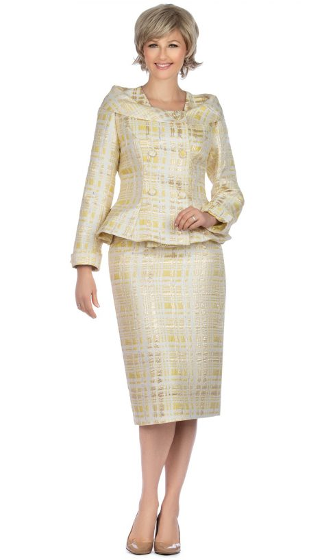 giov, yellow skirt suit