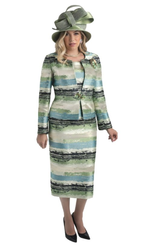 lily taylor, 4420, green print skirt suit