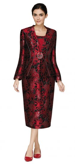 nina massini,3016, dressy red skirt suit