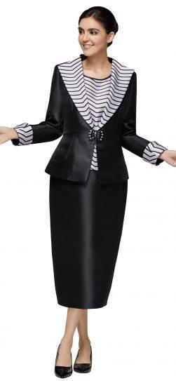nina massini,3019, black-white stripe skirt suit