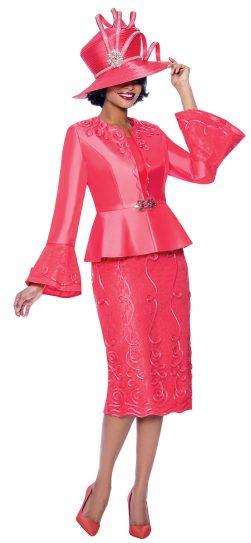 susanna, 3957, coral skirt suit