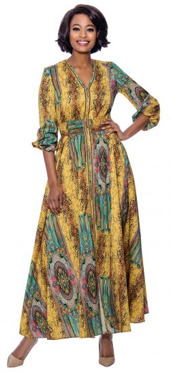terramina, 7829, long yellow print dress