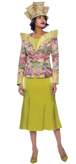 terramina, 7839, stunning green print skirt suit